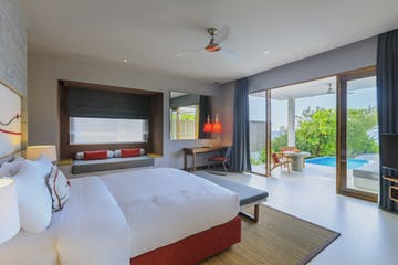 Bed view - Beach villa with pool, Dhigali Maldives