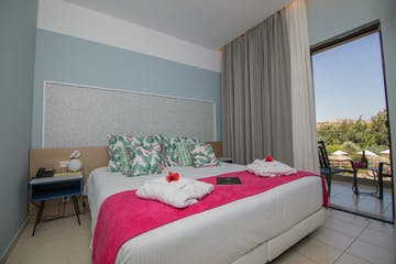 Deluxe triple room bed view, Lindos Breeze, Rhodes